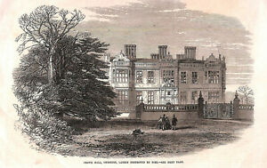 Genuine-Antique-1866-Crewe-Hall-Cheshire-County-print-Architecture-Art-1860-039-s