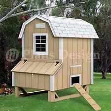 4'x5' Backyard Gambrel / Barn Style Hen Coop Plans, 90405B ( Free Chicken Run )