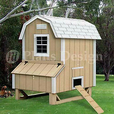 4' x 5' Backyard Gambrel / Barn Style Hen Coop Plans, 90405B (Free Chicken Run)