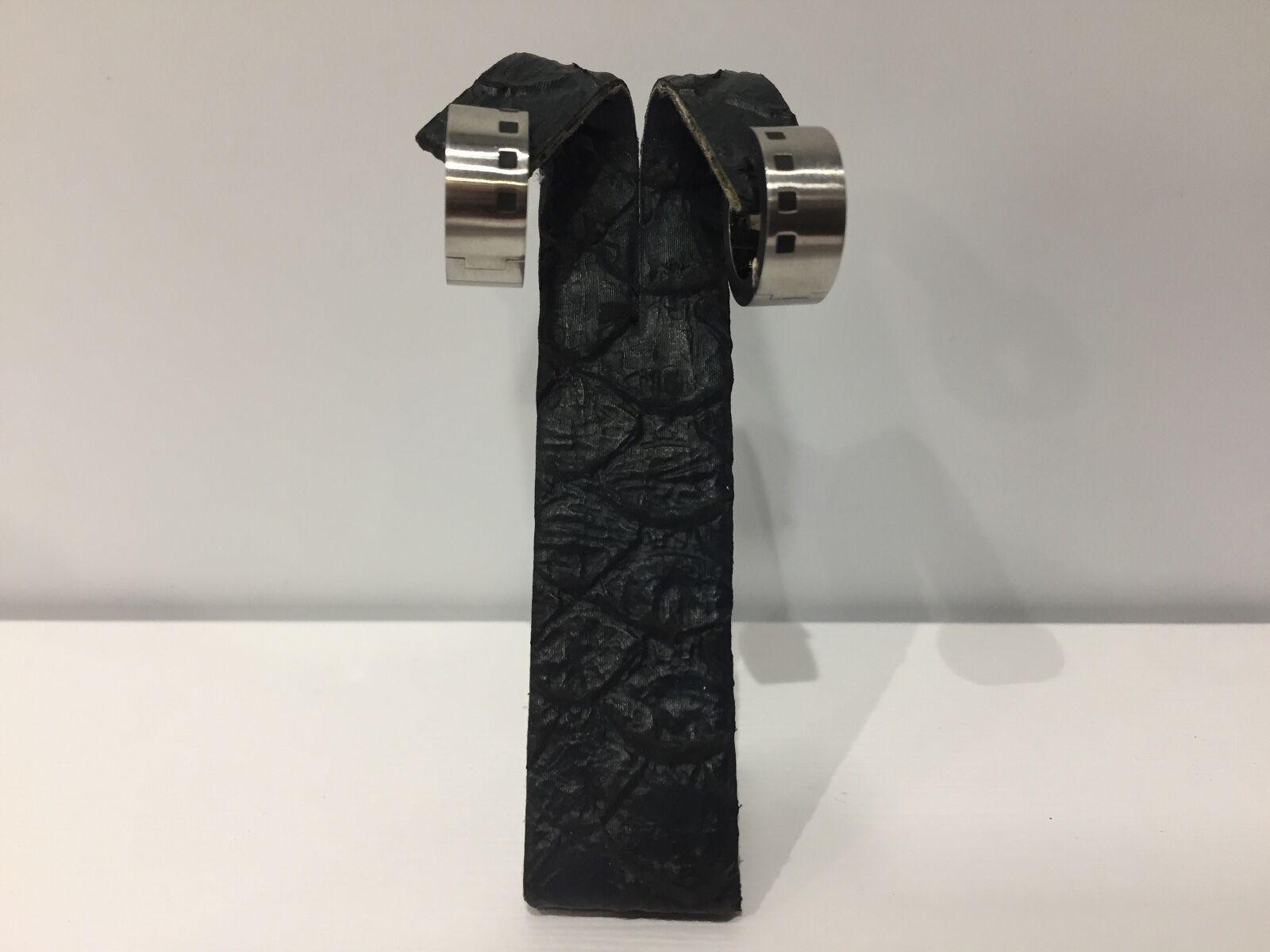 New - Pendenti EarRings Creolo Creolo Creolo SEDISTRI Acciaio con disegno 4 quadrati neri 0386fb