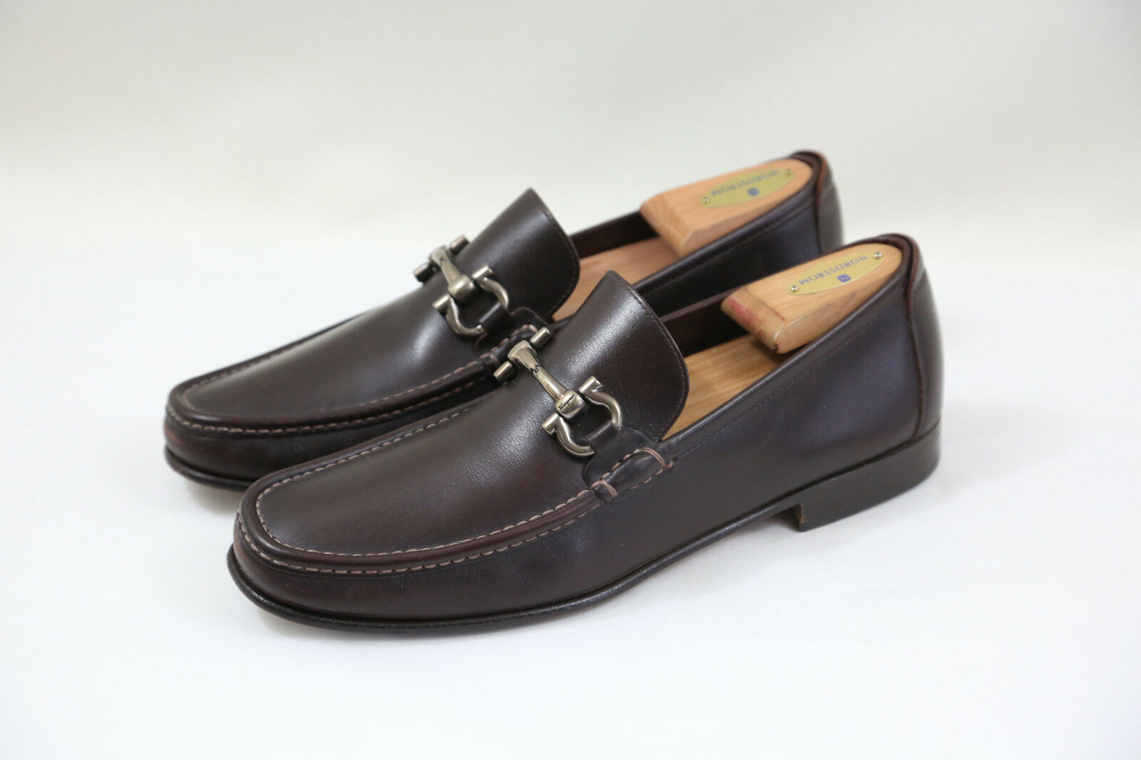 6 SALVATORE FERRAGAMO 'Giordano' 'Giordano' 'Giordano' Brown Leather Drivers Size 8.5 EE  MSRP  595 c7aa2d
