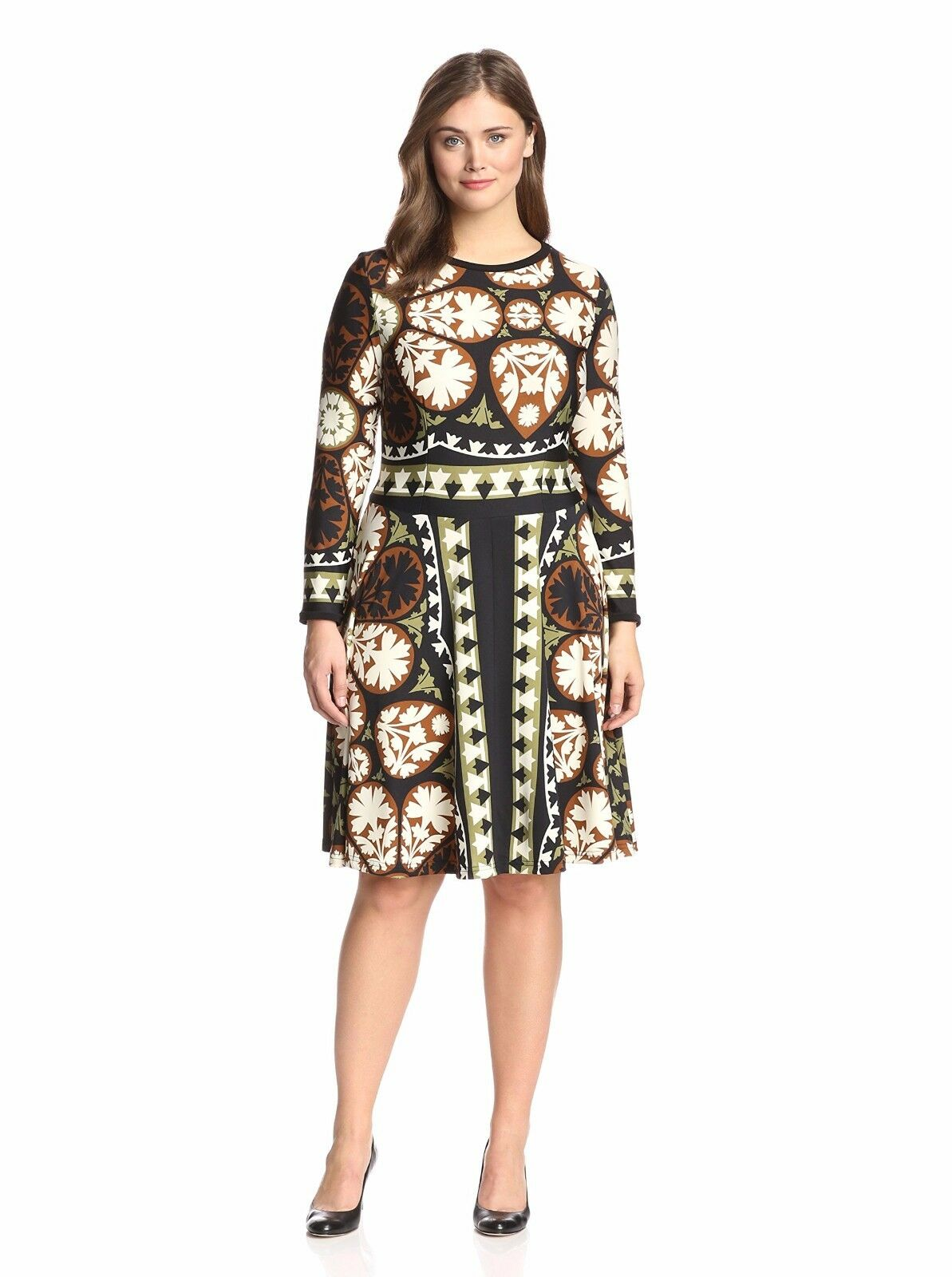 Melissa Masse Plus Size 1X Print Fit & Flare Dress In Pine Floret NWT  325