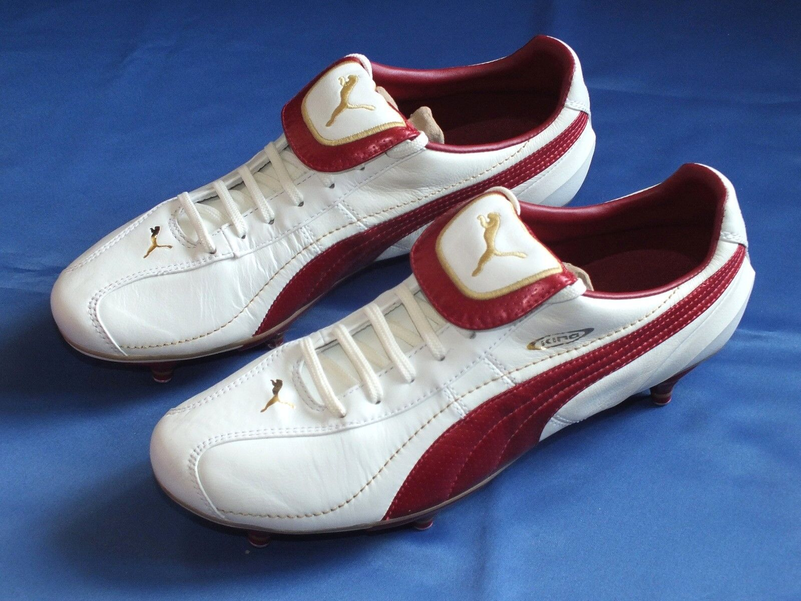 New Puma Retro Soft Ground Grass Weiß ROT & & & Gold Leder Football Stiefel UK 9 28f146