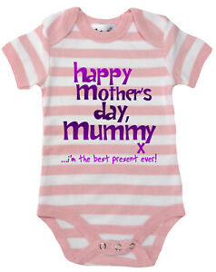 Dirty-Fingers-Happy-Mother-039-s-Day-Mummy-x-Baby-Girl-Striped-Bodysuit