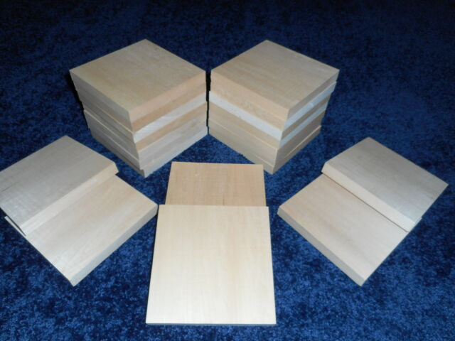 "1"" x 4"" x 4"" Basswood Carving Wood Blocks Craft Lumber  KILN DRIED"