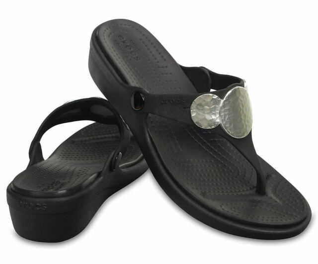4fb3eec51f5 Crocs Womens Sanrah Embellished Wedge Flip Flop Sandal Shoe NEW Sz 7 and 9