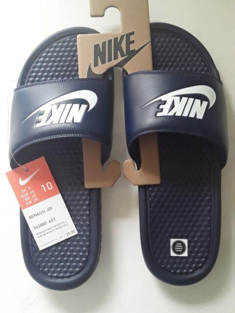 Nike Men's Benassi JDI #343880 403 Midnight Navy Slides Sides 10