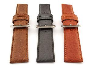 Mens-Genuine-Buffalo-Leather-Watch-Band-Strap-Bizon-18-22-22-24-MM