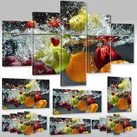Leinwandbild Canvas Wandbilder Kunstdruck Für Küche Wassertropfen Um Früchte