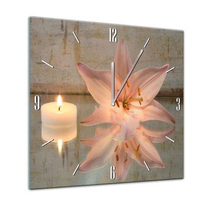Diskret Glasuhr - Geist & Seele - Lilie Und Kerzen - 40x40cm