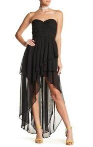 tov black layered mesh hilow corset dress women's 38 s