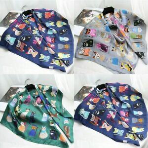 Wrap-Ladies-Square-Scarf-Print-Silk-Scarves-Fashion-Cat-Women-Retro-Gift