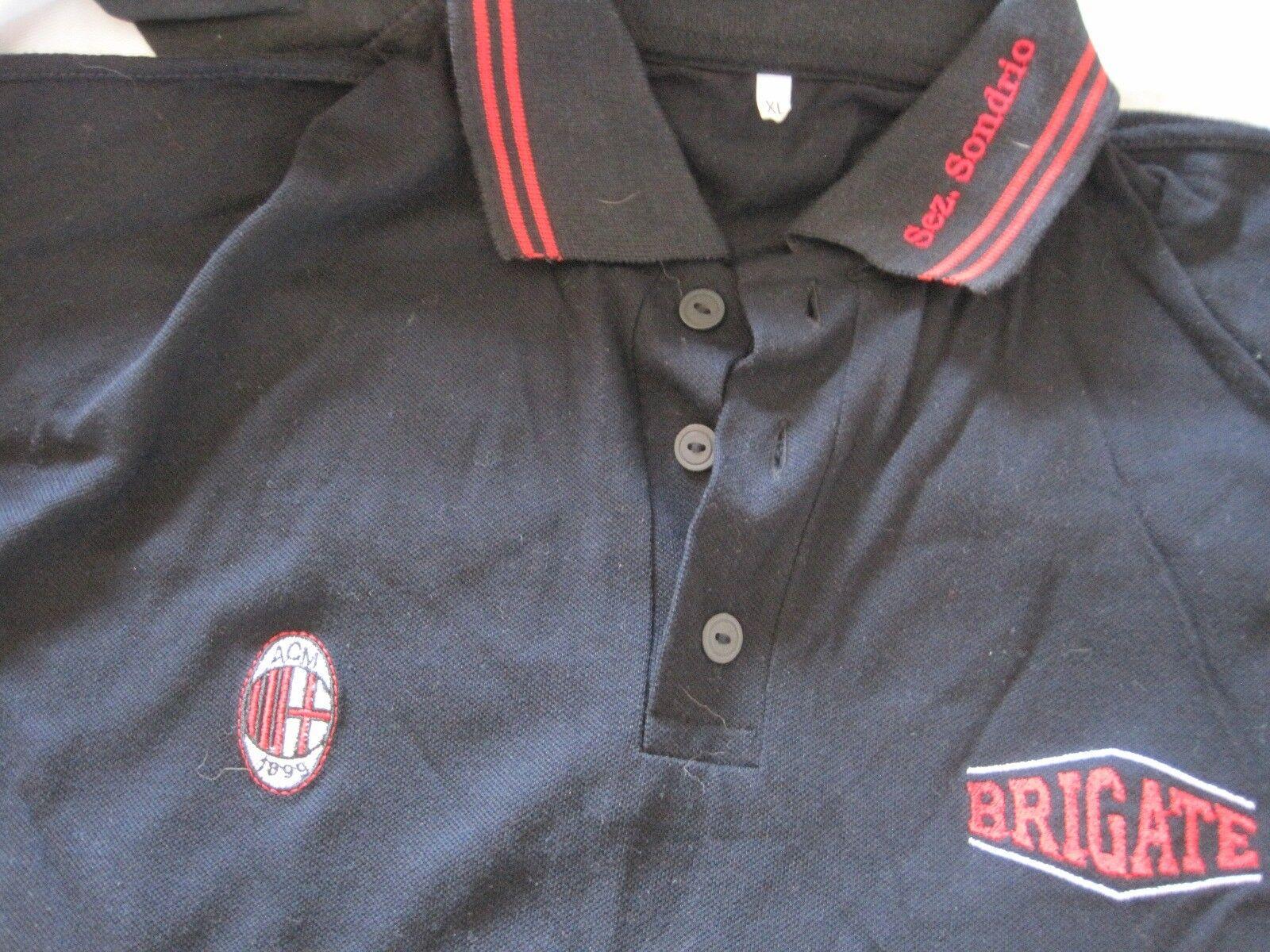 Camiseta Maglia Polo Shirt BRIGATE rojoNERE MILAN XL vintage Long Sleeve