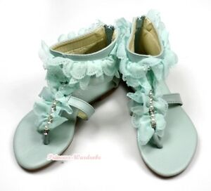 34e94f4f055f78 Light Blue Pearls Ruffle Lacing Party Wedding Flip Flop Sandals Kid ...