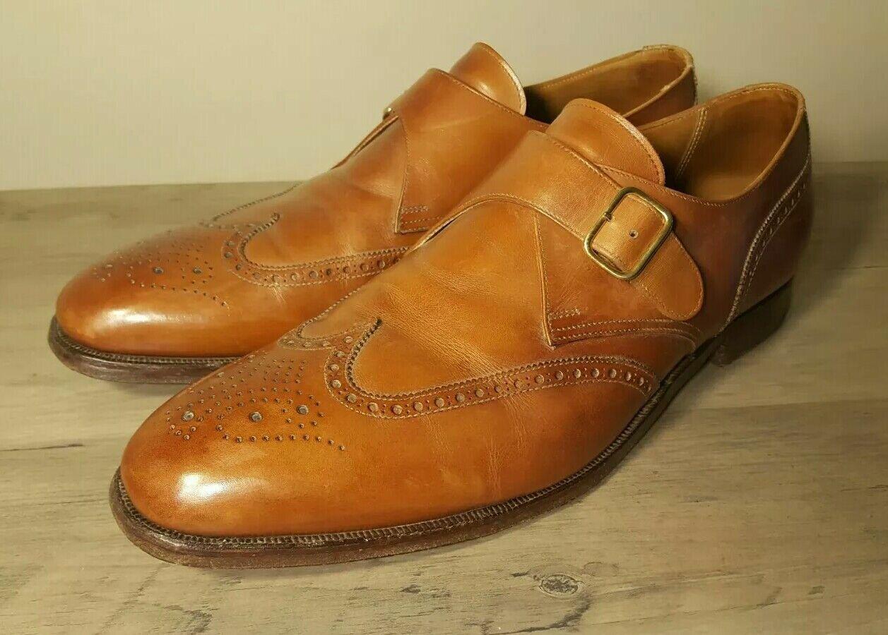 Crockett & Jones Chalfont Monkstrap Marroneee Wingtip Leather scarpe England sz 13