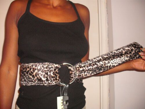 women animal print faux fur waist long belt medium size