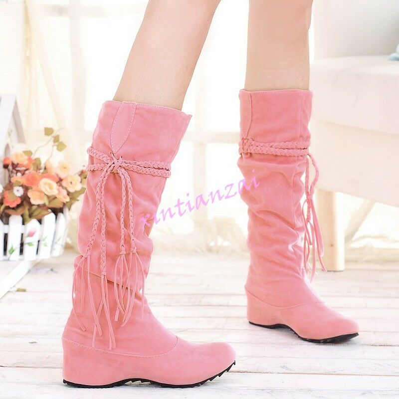 Womens Knee High Boots Winter Slouch Tall Faux Suede Lady Cowboy Tassels Shoes