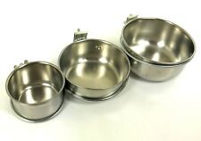 Stainless Steel Feeder Bowls with Clamp Holder Bird Parrot Rabbit Small Animal