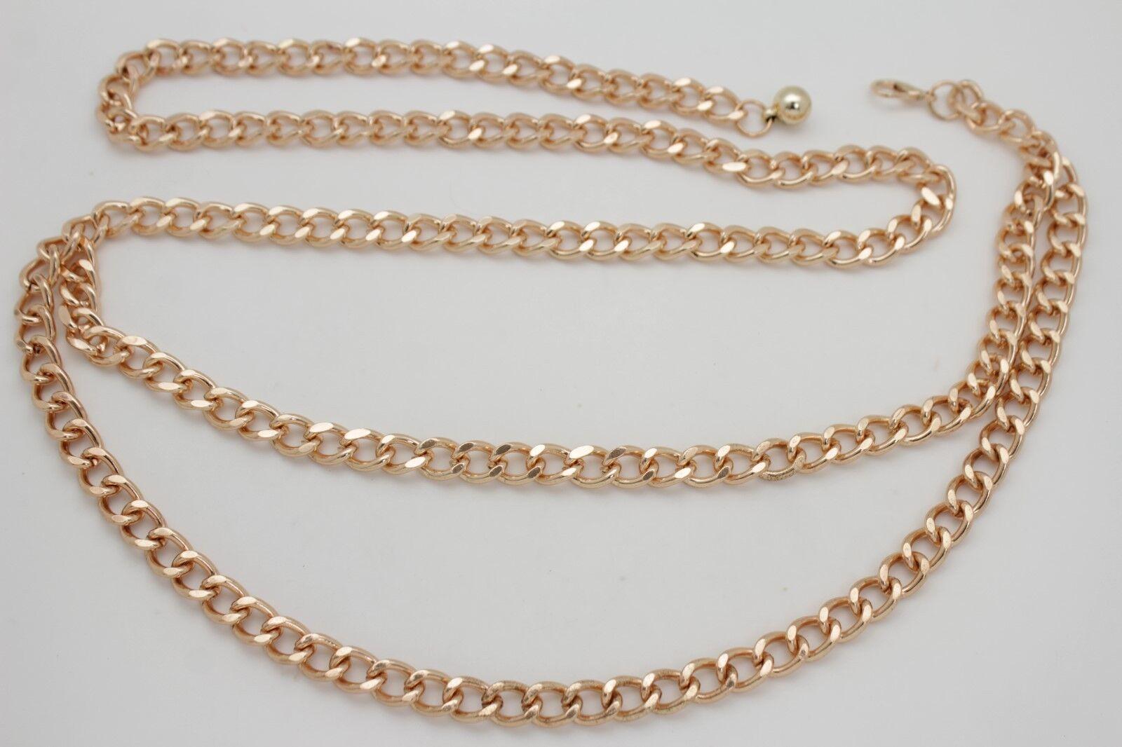 Women Metallic Gold Metal Chain Link Fancy Fashion Party Look Belt Size M L XL
