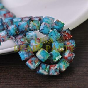 Hot-10pcs-10mm-Cube-Square-Faceted-Glass-Loose-Spacer-Colorful-Beads-Lake-Blue