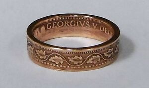 034-Sealed-034-Coin-Ring-made-from-100-year-old-Canadian-large-cent-size-6-13