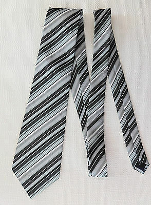 Mens striped tie Black white grey Formal casual Funeral Machine Washable