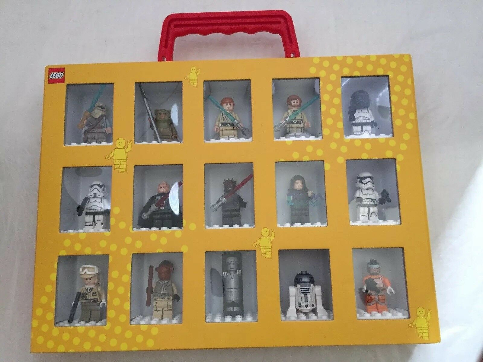 Lego Star Wars Minifigures w/ Collector's Box Carry Case Gelb Display Storage