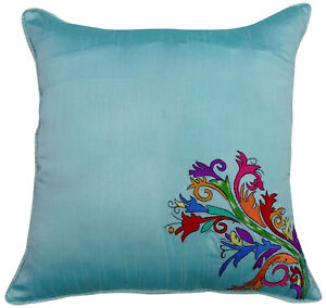 Super Details About Poly Dupion Floral Embroidered Square Pillow Cover Aqua Blue Sofa Cushion Cover Evergreenethics Interior Chair Design Evergreenethicsorg