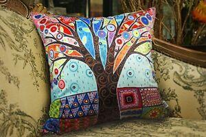 Colored-Tree-VELVET-PILLOW-COVER-Prim-FOLK-ART-Various-Sizes-Karla-Gerard