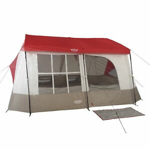 Wenzel-Kodiak-12-x-14-9-Person-Family-Cabin-Style-Camping-Tent-w-Divider-Red