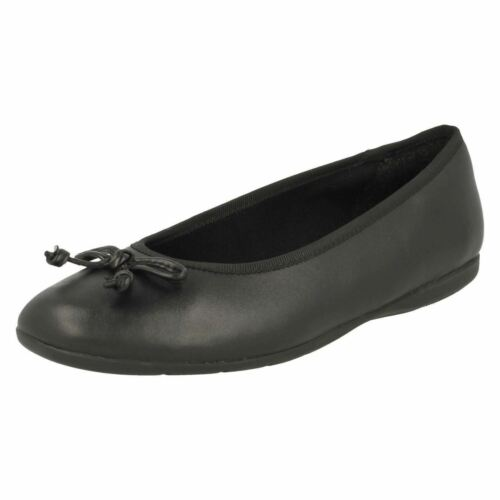 para Clarks escolares Leather Bow Zapatos Slip Shine' Detail Negro niñas On 'jesse Zw501q
