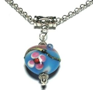 NEW-Turquoise-Pink-Glass-Bead-Pendant-Silver-Chain-Choker-Necklace-16-034-30-034-UK