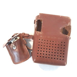 Mitsubishi Transistor Radio Leather Case ONLY  Vintage w/ Earphone in Pouch