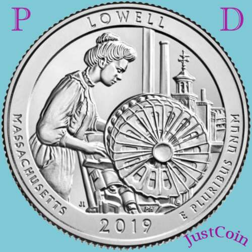 TWO UNCIRCULATED QUARTERS SET 2019 P/&D LOWELL NATIONAL PARK MA