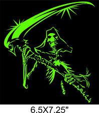 "Reaper Skull sticker Grim DEATH scythe Vinyl Decal Evil Window Sticker 6.5X7.25"""