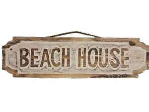 """24/"""" Handcarved and Painted  Wood /""""Beach House/"""" Distressed Style Wall Decor!!"""