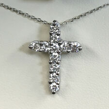 Diamond Cross Pendant Necklace Genuine Solid 14k White Gold (1/2 Ct F/ VS2/)