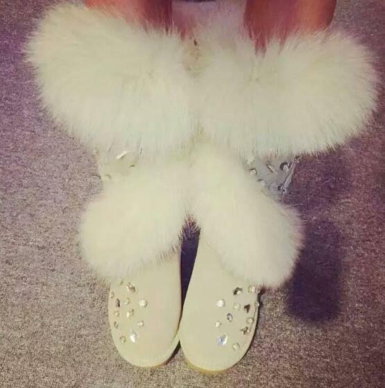 Womens Handmade Diamonds Fleece Lining Fur Mid Calf Snow Boots Winter shoes F546