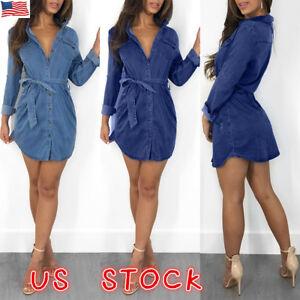 Womens-Denim-Jeans-Mini-Dress-Long-Sleeve-Belted-Casual-T-Shirt-Blouse-Dresses