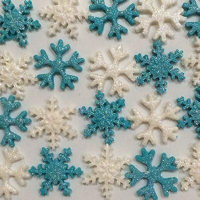 Disney Frozen Edible Snowflakes With Glitter Cake Toppers x 20 Aqua & White
