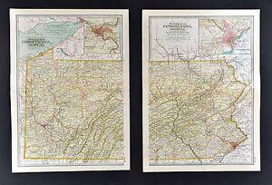1902-Century-Atlas-Map-x-2-Pennsylvania-East-amp-West-Philadelphia-Pittsburgh-Erie