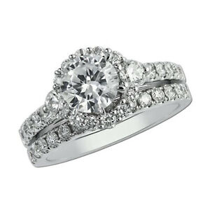 2.00 Ct Round Moissanite Engagement Superb Band Set Solid 18K White Gold Size 7