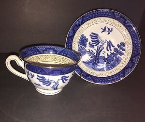 Image is loading VINTAGE-IRONSTONE-WARE-BLUE-WILLOW-CUP-AND-SAUCER- & VINTAGE IRONSTONE WARE BLUE WILLOW CUP AND SAUCER MADE IN OCCUPIED ...