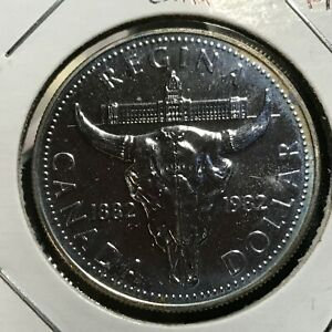 1982-CANADA-SILVER-ONE-BISON-DOLLAR-BRILLIANT-UNCIRCULATED-CROWN