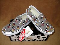 Vans Classic Slip On Disney Mickey Mouse Shoe Grey Youth 11.5,12.5,1,1.5,2