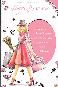 Image Is Loading HAPPY BIRTHDAY CARD FEMALE WOMAN GIRL SHOPPING THEME