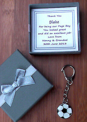 PAGE BOY BEST MAN FOOTBALL KEY RING PERSONALISED THANK YOU GIFT KEEPSAKE USHER