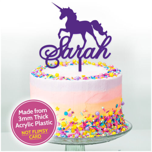 PERSONALISED Happy Birthday UNICORN Cake Topper ANY NAME Custom Decorations