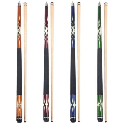 """58/"""" 2-Piece Canadian Maple Billiard Pool Cue Stick Set 4 Colors, 18-21oz"""