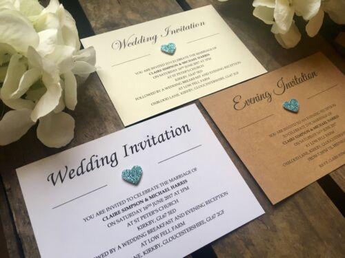 Evening Invitations Personalised Pale Sky Blue Glitter heart Wedding